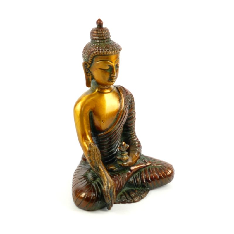 buddha figur messing medizin buddha 16 cm yoga stilvoll. Black Bedroom Furniture Sets. Home Design Ideas