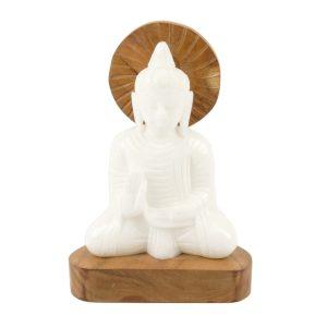 Buddha Figur Alabaster-Holz 21 cm
