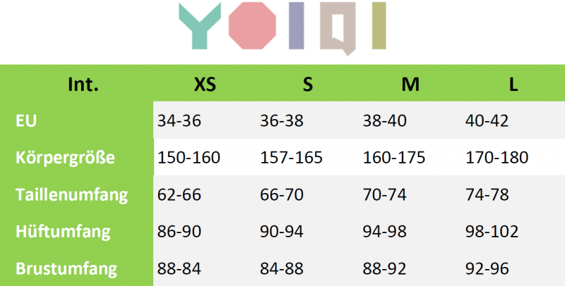 Größen Tabelle von Yoiqi