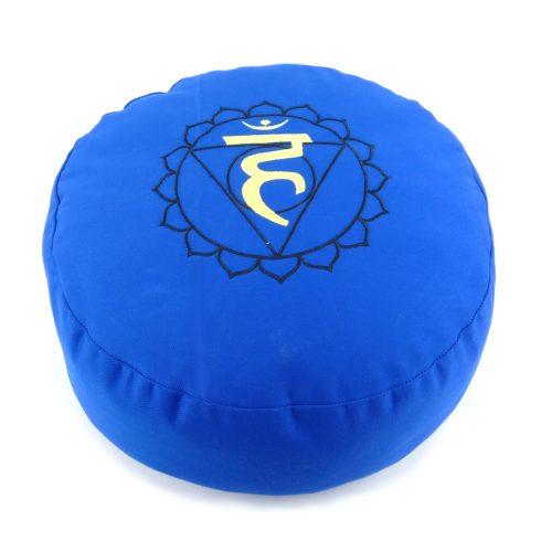 Meditationskissen bestickt mit Hals Chakra - Blau | Yogakissen | rundes Meditationskissen | Kehlchakra Kissen | Meditationskissen rund