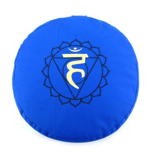 Meditationskissen bestickt mit Hals Chakra - Blau | Yogakissen | Meditationskissen Vishuddha Chakra | Kissen für Meditation | Meditationskissen rund