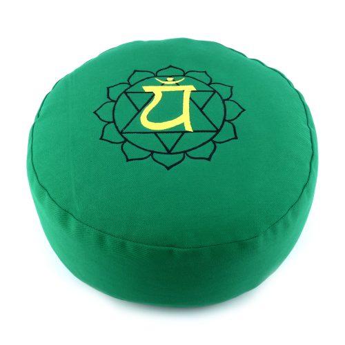 Meditationskissen bestickt mit Herz Chakra - Grün | Yogakissen | Meditationskissen | Kissen für Meditation | Anahata Chakra Kissen