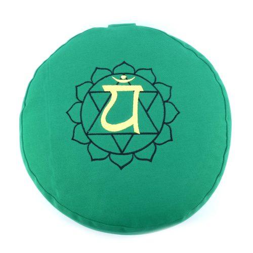 Meditationskissen bestickt mit Herz Chakra - Grün | Yogakissen | Yoga Kissen | Anahata Chakra Meditationskissen | YOGA STILVOLL