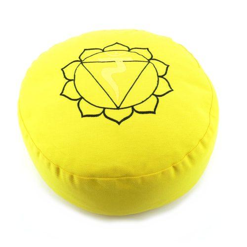 Meditationskissen bestickt mit Solarplexus Chakra - Gelb | Yogakissen | Kissen für Meditation | Solarplexus Chakra Meditationskissen | Meditationskissen Manipura Chakra