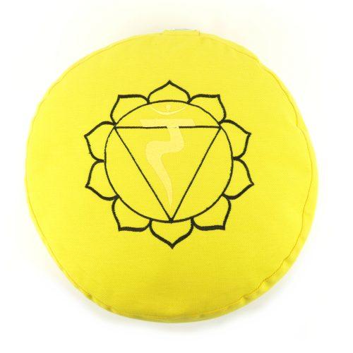 Meditationskissen bestickt mit Solarplexus Chakra - Gelb | Yogakissen | Yoga Kissen | Manipura Chakra | YOGA STILVOLL