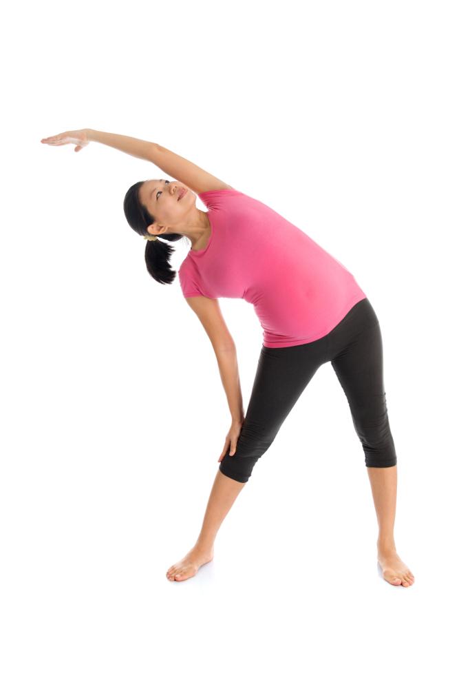 Yogaübung Konasana der Winkel Schwangerschaftsyoga
