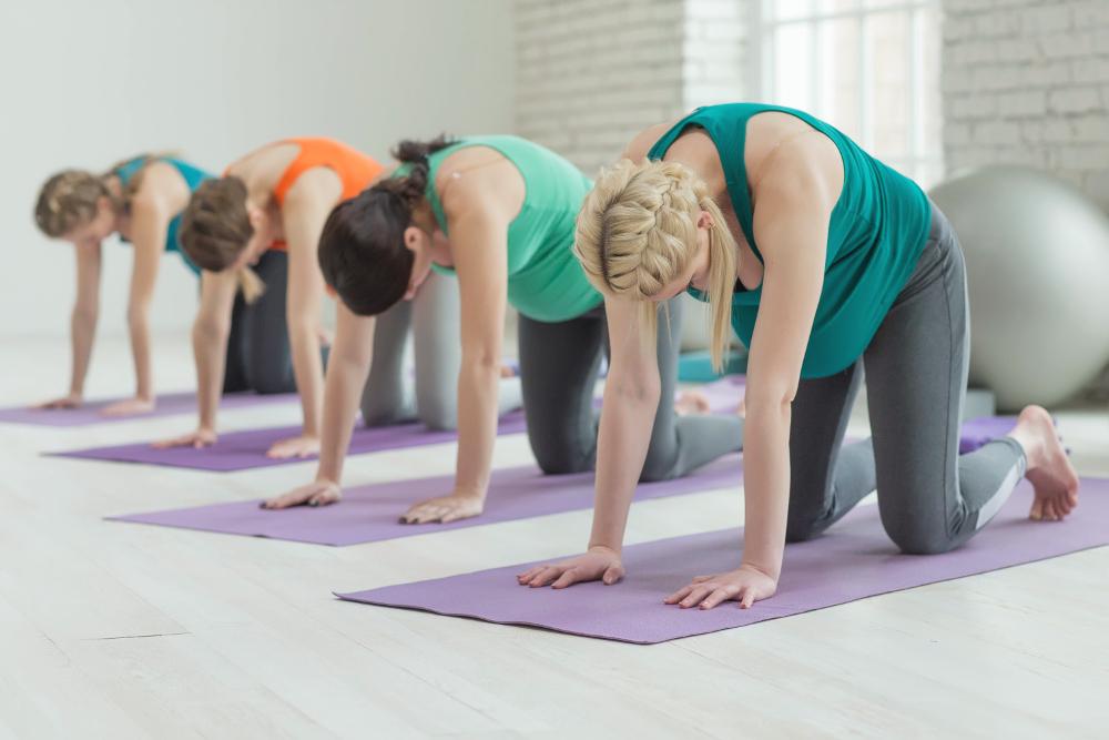 Yogaübung Vyaghrasana Katze Yoga in der Schwangerschaft