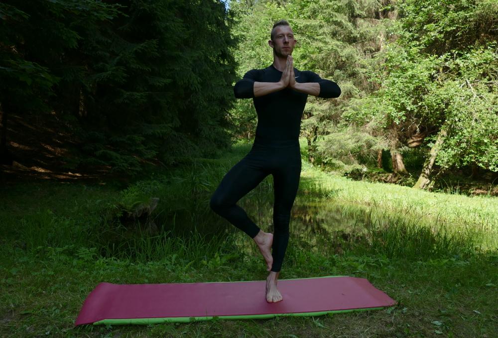 Yoga-Übung Vrkshasana – Baum Yoga bei Bandscheibenvorfall