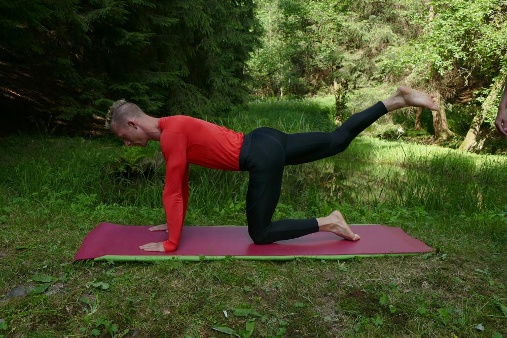 Yoga Übung Cakravakasana Variation – Die Katze streckt ihr Bein mit gestrecktem Bein Yoga für Anfänger
