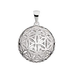 Silber Anhänger Blume des Lebens Kugel 25 mm