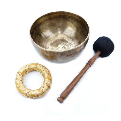Klangschale gehämmert Gravur Grüne Tara Antik 1123g