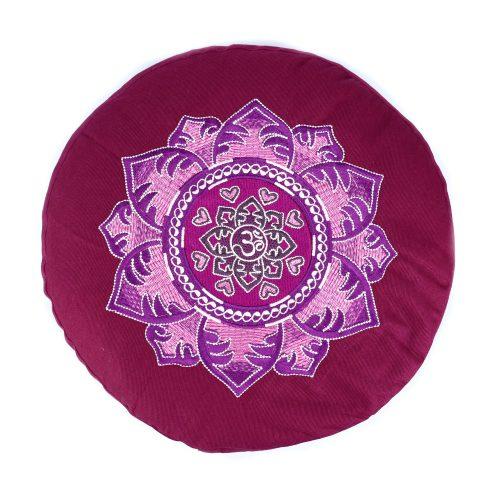 Meditationskissen - OM Mandala von Bagahi Weinrot