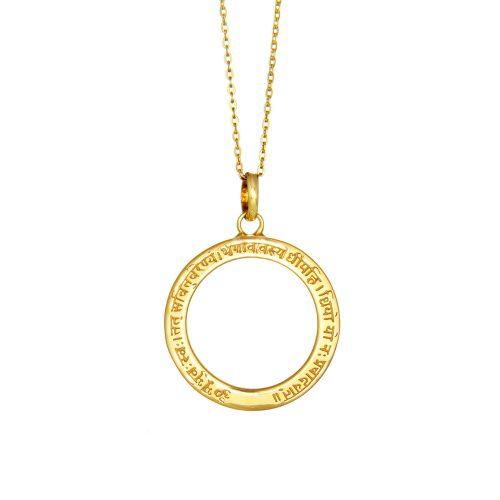Gold Anhänger Gayatri Mantra mit Öse Sterling Silber 18 Karat gelbgold