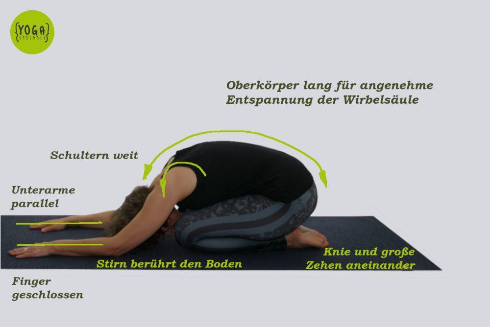 Balasana - Die Stellung des Kindes variante 2 visuell erklärt