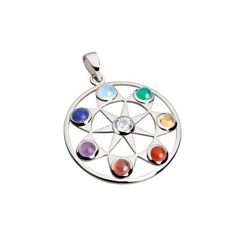 Silber Anhänger - Sieben Strahlen Anhänger - Inner Light - Chakra Anhänger