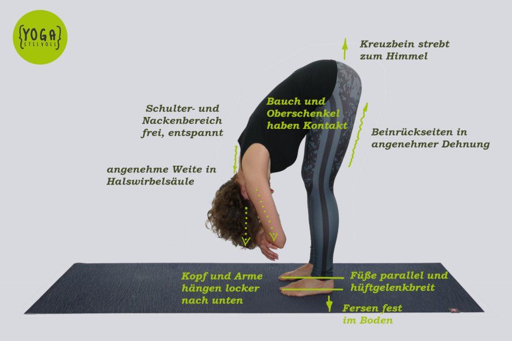 Uttanasana - Stehende Vorwärtsbeuge - visuell erklärt