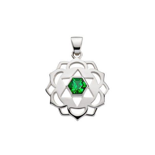 Silber Anhänger - Herz Chakra mit Zirkonia grün