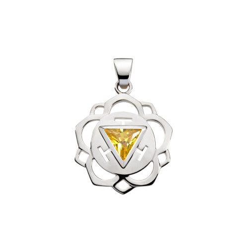 Silber Anhänger - Solar Plexus Chakra mit Zirkonia gelb