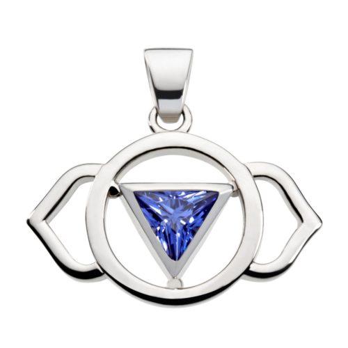 Silber Anhänger - Stirn Chakra mit Zirkonia blau