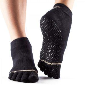 Yogasocken - ToeSox - Full Toe Ankle - Black