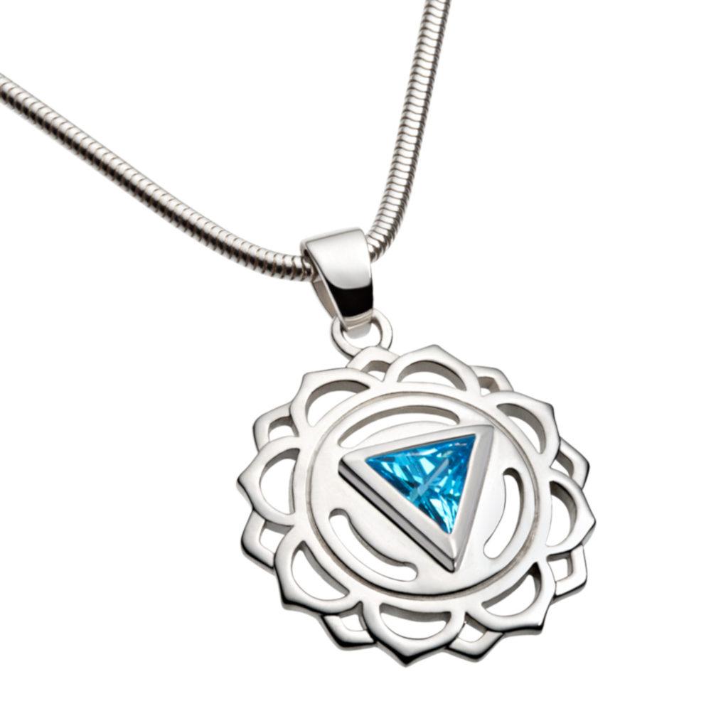 Silber Anhänger – Hals Chakra mit Zirkonia Blau - Inner Light