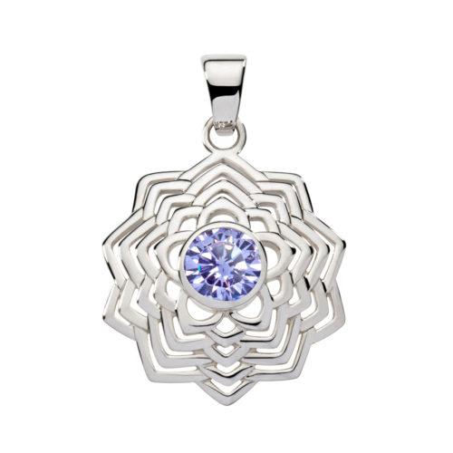 Silber Anhänger – Kronen Chakra mit Zirkonia Violett - Inner Light