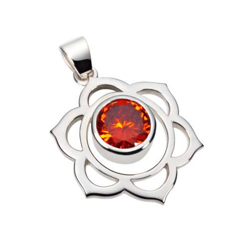 Silber Anhänger – Sakral Chakra mit Zirkonia Orange - Inner Light