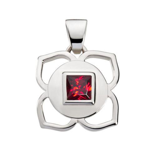 Silber Anhänger – Wurzel Chakra mit Zirkonia Rot - Inner Light