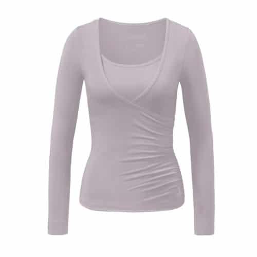 Wrapshirt von Curare Yogawear puder-rosa